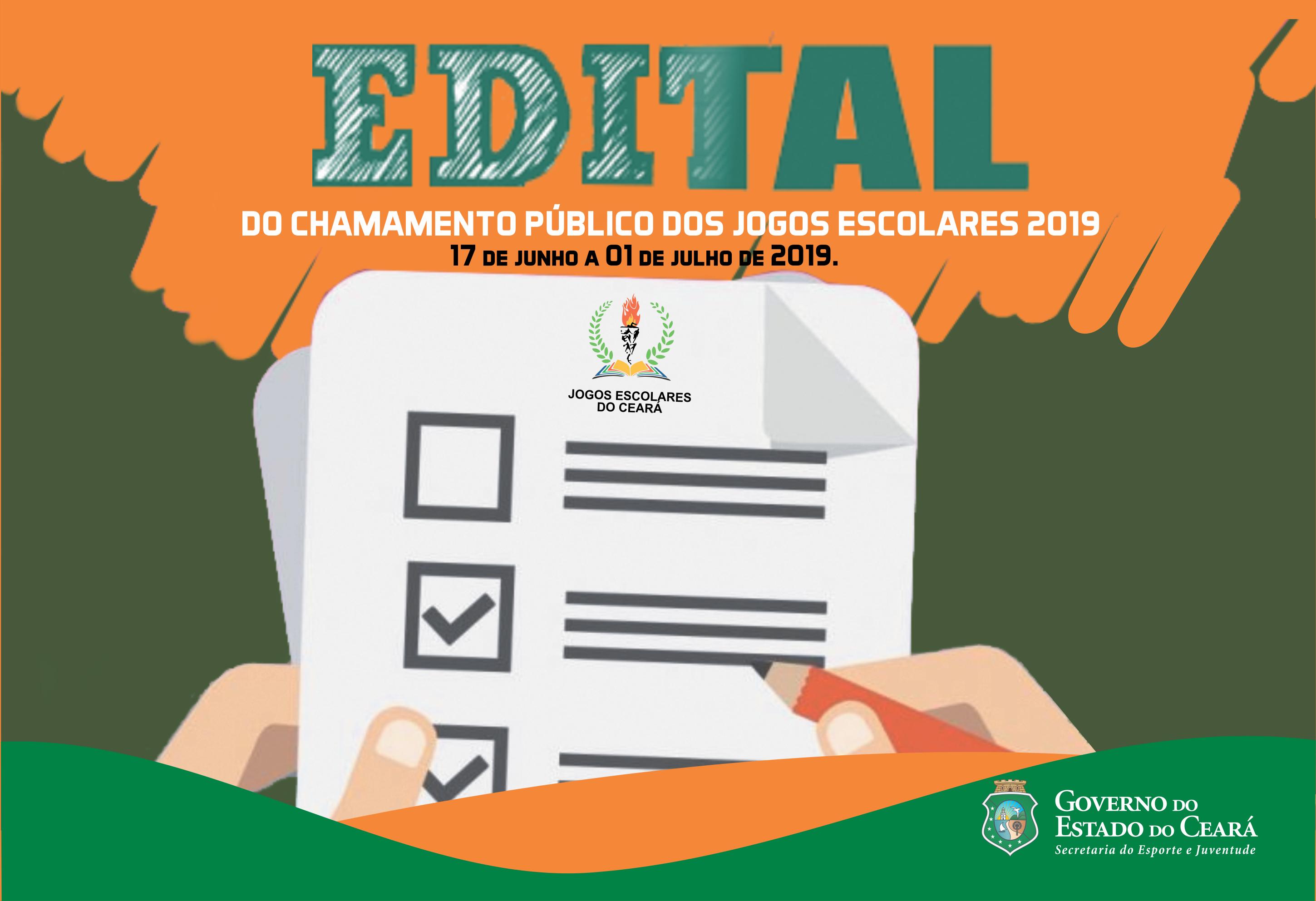 Sejuv divulga Edital Nº 04/2019 referente ao Chamamento Público dos Jogos Escolares 2019