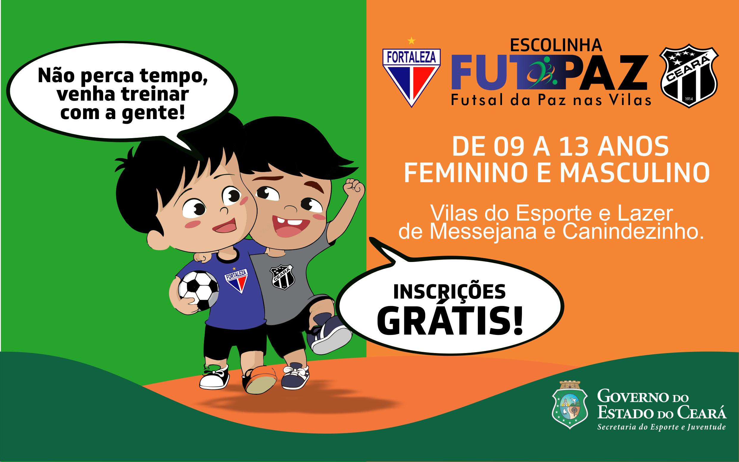 """Continuam abertas as pré-inscrições do projeto """"FUTPAZ"""" dos times Fortaleza e Ceará"""