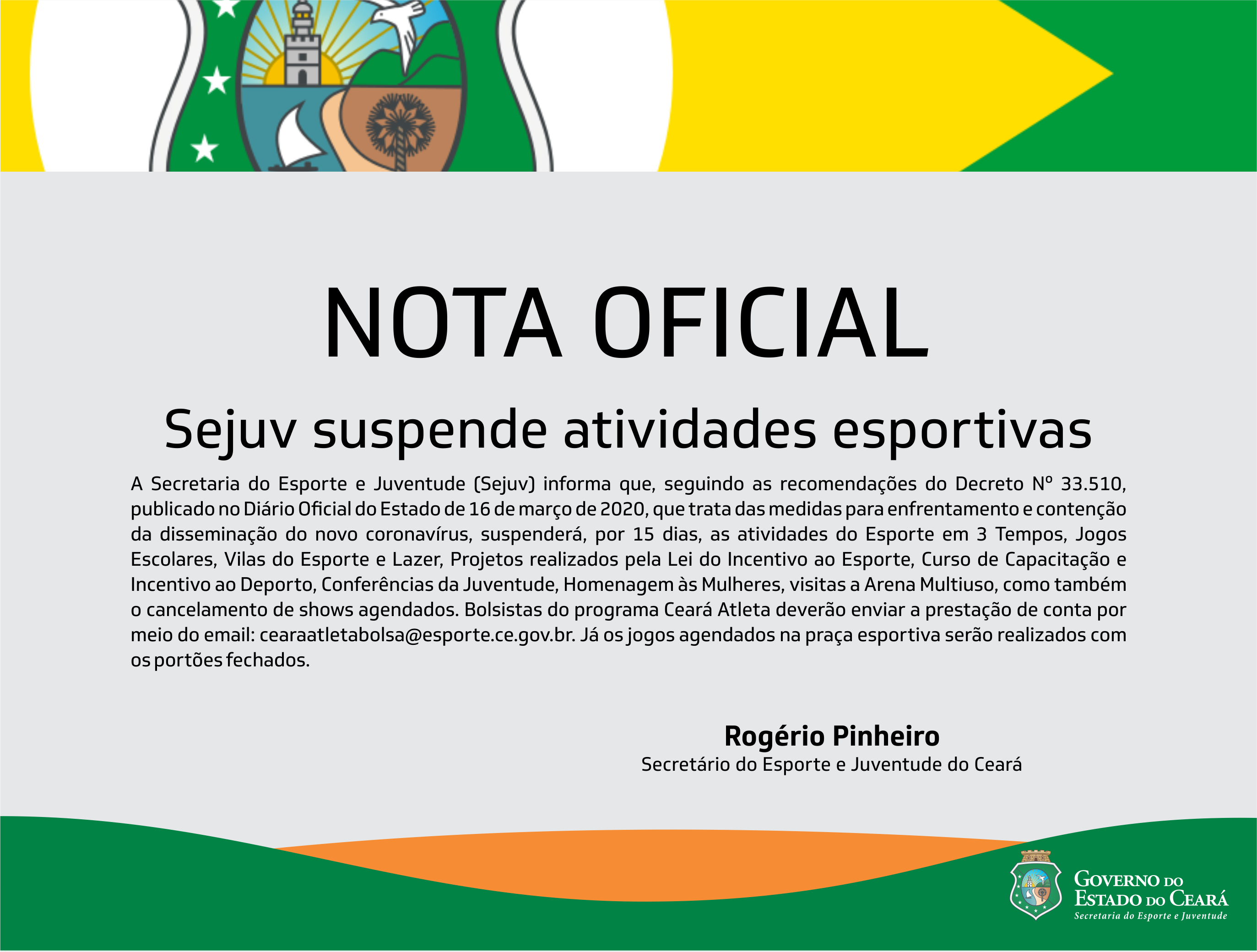 Sejuv suspende atividades esportivas