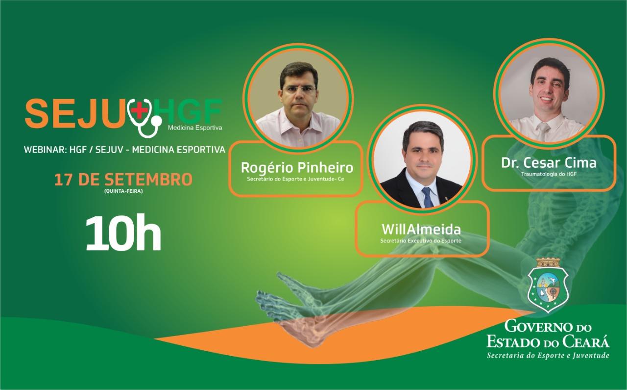 Sejuv promove Webinar para construção do projeto Medicina Esportiva em parceria com Hospital Geral de Fortaleza